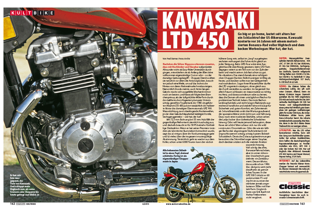 Artikel als Kultbike in der Motorrad 04/2015